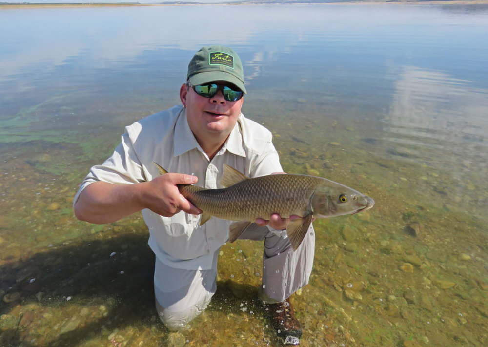 Første barbe. Titter man litt nøye ser man algene i vannet som gjorde det vanskelig å spotte fiskene langs land.